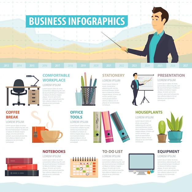 Zakelijke elementen infographic sjabloon Gratis Vector