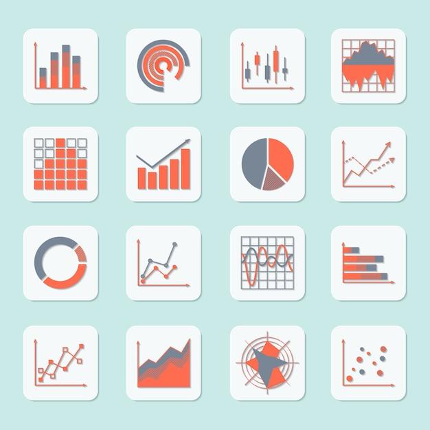 Zakelijke elementen vooruitgang groei trends grafieken diagrammen en grafieken pictogrammen instellen geïsoleerd Gratis Vector