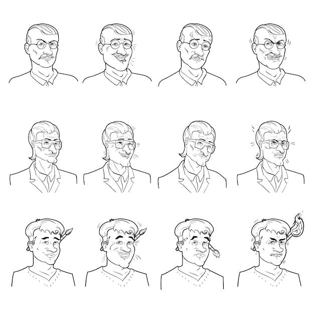 Zakelijke emoties avatars set Gratis Vector