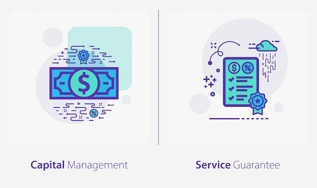 Zakelijke en financiële pictogrammen, kapitaalbeheer, servicegarantie Premium Vector