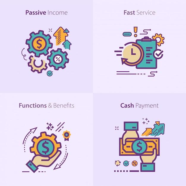 Zakelijke en financiële pictogrammenset concept Premium Vector