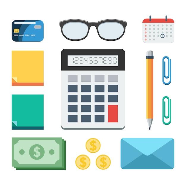 Zakelijke en financiële set Premium Vector