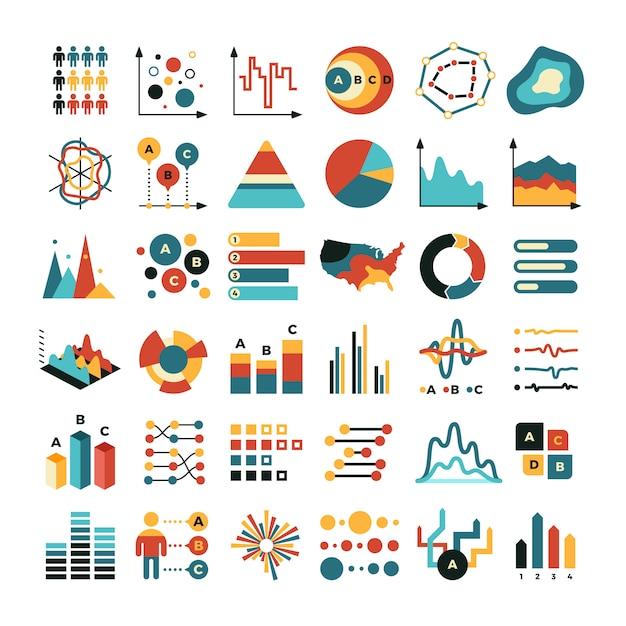 Zakelijke gegevensgrafiek en grafieken. marketing statistieken vector plat pictogrammen Premium Vector