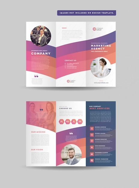 Zakelijke gevouwen brochureontwerp | drie gevouwen flyer | hand-out ontwerp Premium Vector