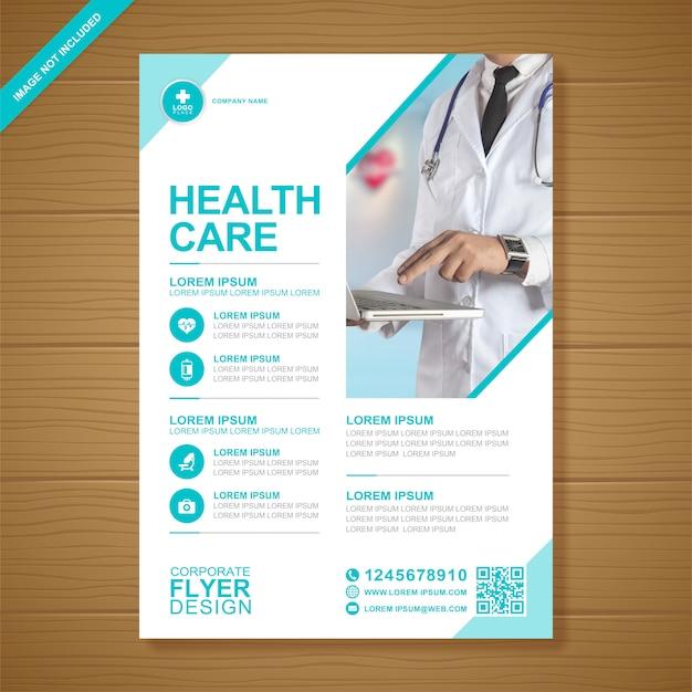 Zakelijke gezondheidszorg en medische dekking a4 flyer ontwerpsjabloon Premium Vector