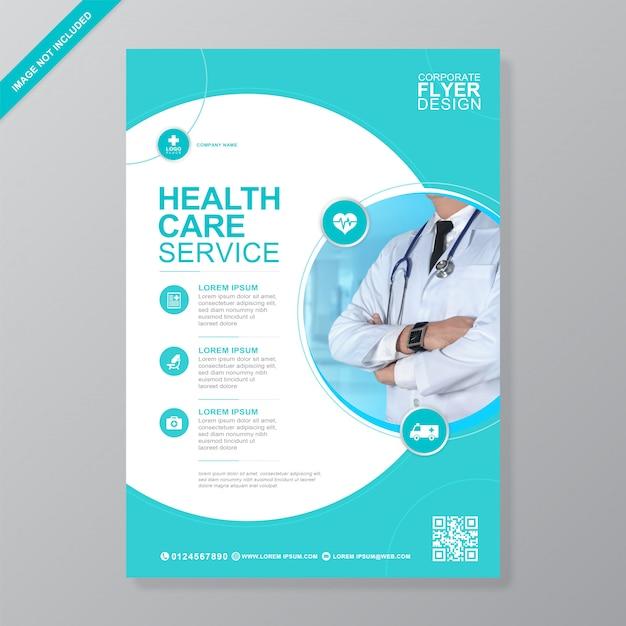 Zakelijke gezondheidszorg en medische dekking a4 folder sjabloon Premium Vector