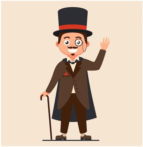 Zakelijke heer met een wandelstok en in een regenjas. rijke mensen van de 19e eeuw. serieuze retro zakenman met een snor. Premium Vector