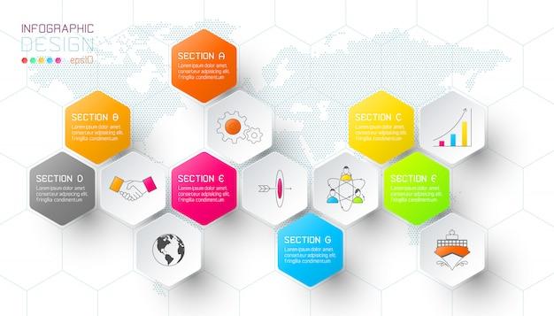Zakelijke hexagon netto etiketten vormen infographic balk. Premium Vector