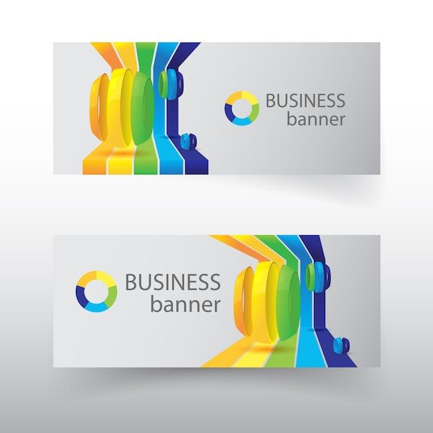 Zakelijke horizontale banners met kleurrijke gebogen lijnen en gesneden bollen geïsoleerd Gratis Vector