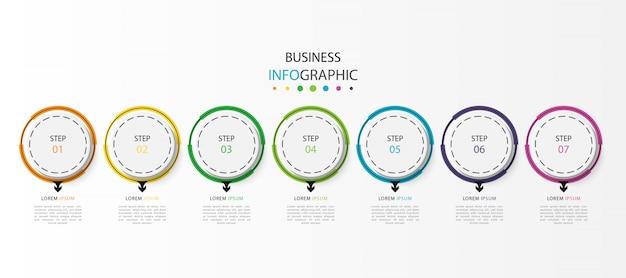 Zakelijke infograhic met 7 stappen of opties Premium Vector