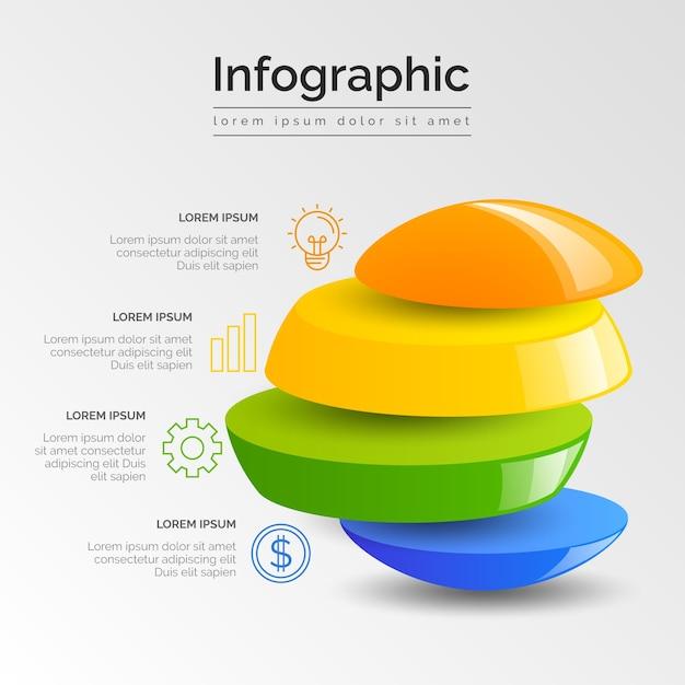 Zakelijke infographic 3d glanzend Gratis Vector