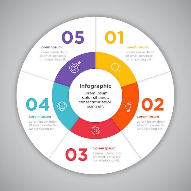 Zakelijke infographic cirkel presentatie verwerken Premium Vector