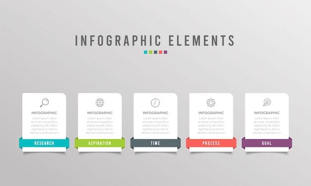 Zakelijke infographic element met 5 opties, stappen, nummer sjabloonontwerp Premium Vector
