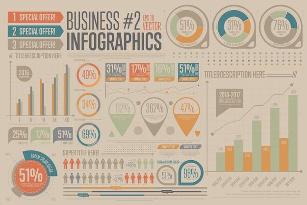 Zakelijke infographic elementen. grafiek, pictogram. Premium Vector