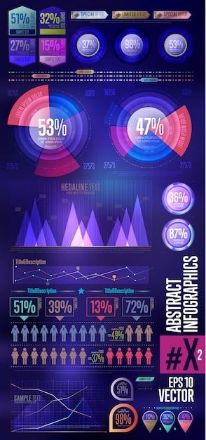 Zakelijke infographic elementenverzameling Premium Vector