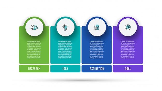 Zakelijke infographic lay-out met marketingpictogrammen en 4 opties, stappen of processen. Premium Vector