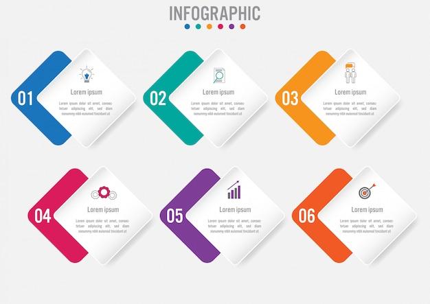 Zakelijke infographic met 6 opties Premium Vector