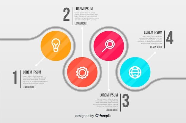 Zakelijke infographic met verbonden cirkels Gratis Vector