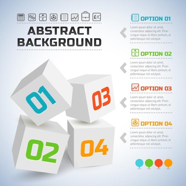 Zakelijke infographic met witte 3d-kubussen en kleurrijke nummers Gratis Vector