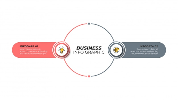 Zakelijke infographic ontwerpsjabloon met marketing pictogrammen en 2 opties, stappen. Premium Vector