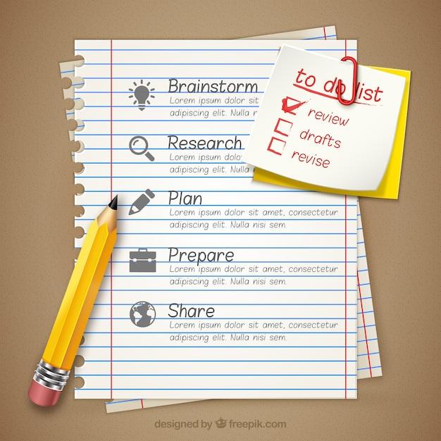 Zakelijke infographic op een notebook Gratis Vector