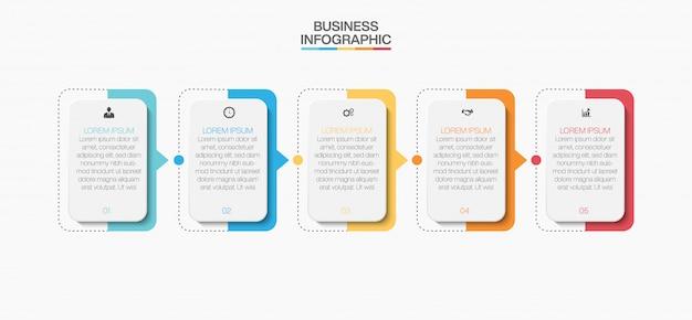 Zakelijke infographic presentatiesjabloon met vijf opties. Premium Vector