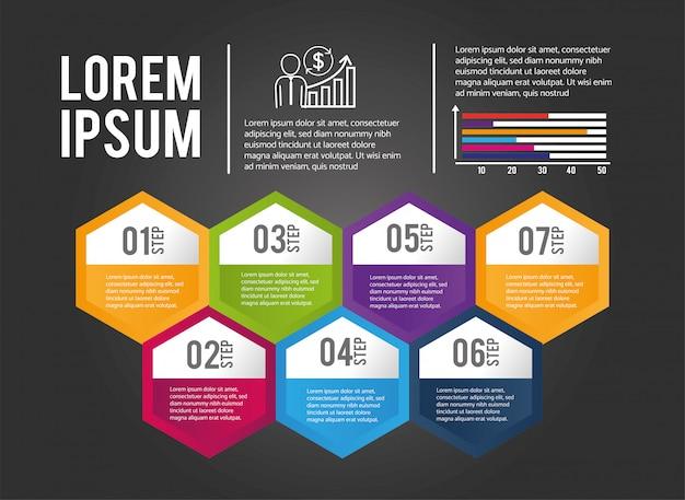 Zakelijke infographic procesinformatie Premium Vector