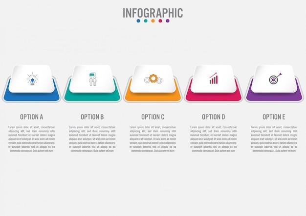 Zakelijke infographic sjabloon met 5 opties Premium Vector