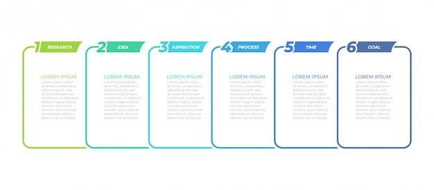 Zakelijke infographic sjabloon met 6 stappen Premium Vector