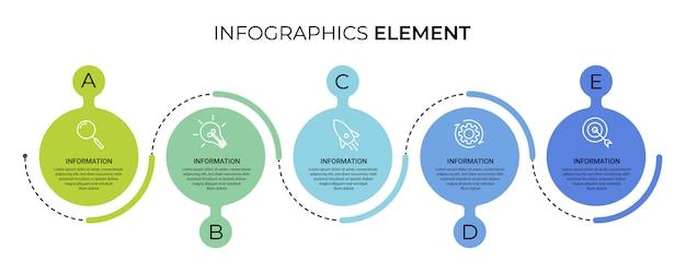 Zakelijke infographic sjabloon met pictogrammen en nummers 5 opties of stappen Premium Vector