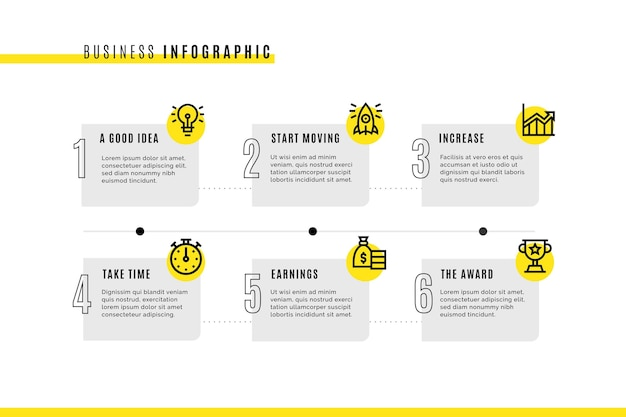 Zakelijke infographic sjabloon met pictogrammen Gratis Vector