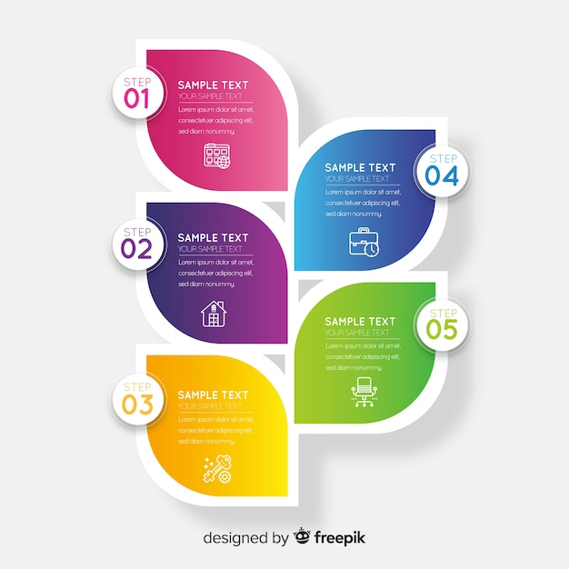 Zakelijke infographic sjabloon, samenstelling van infographic elementen Premium Vector