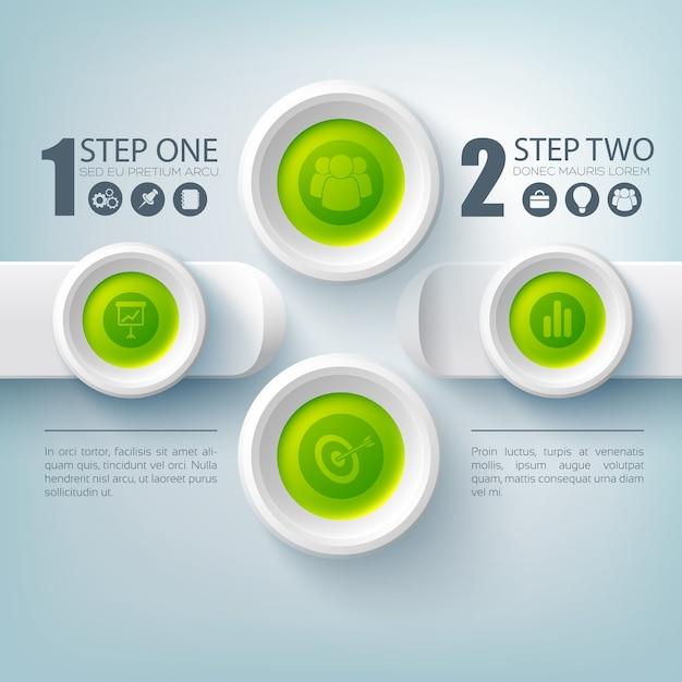 Zakelijke infographic stap voor stap met set van pictogrammen en knoppen plat Gratis Vector