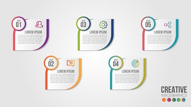 Zakelijke infographic tijdlijn ontwerpsjabloon met pictogrammen en 5 nummers opties of stappen. Premium Vector