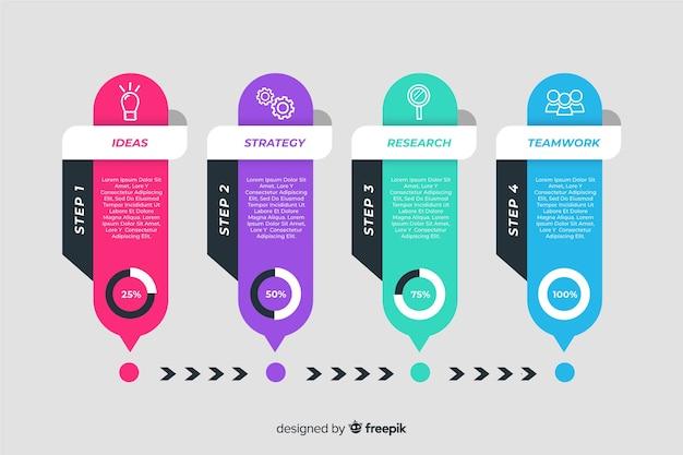 Zakelijke infographic vlakke stappen Gratis Vector