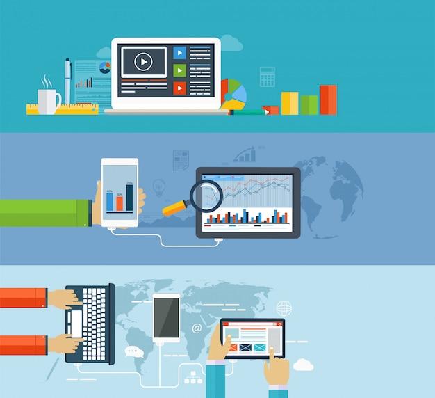 Zakelijke infographics met behulp van moderne digitale apparaten voor internetten, gegevensoverdracht op mobiele apparaten, rapportage, statistische grafieken en grafieken Premium Vector