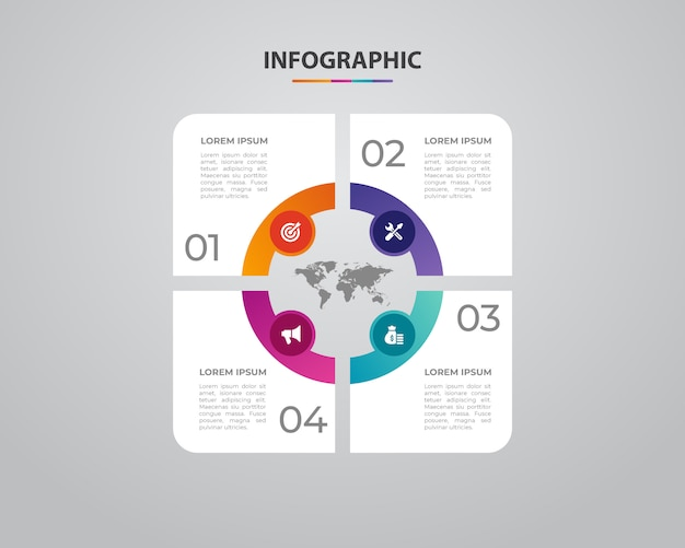 Zakelijke infographics. minimalistisch en plat ontwerp. bedrijfsstatistieken Premium Vector