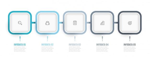 Zakelijke infographics. processchema. timeline met 5 opties of stappen. kan gebruikt worden voor jaarverslag, infokaart, webdesign. Premium Vector