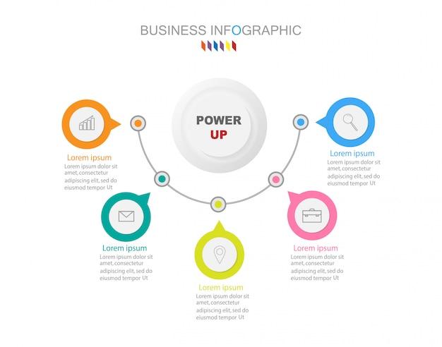 Zakelijke infographics sjabloon het concept 5 volledige kleuroptie. Premium Vector