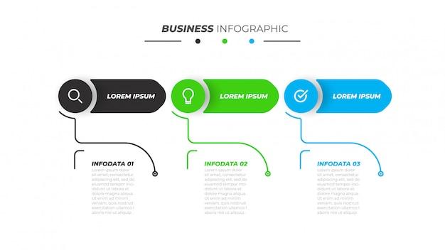 Zakelijke infographics sjabloon met 3 stappen, opties. Premium Vector
