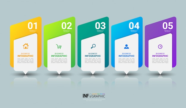 Zakelijke infographics sjabloon met vijf stappen Premium Vector