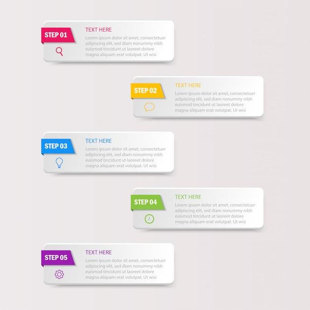 Zakelijke infographics sjabloon. nummers 5 stappen geïsoleerd Premium Vector
