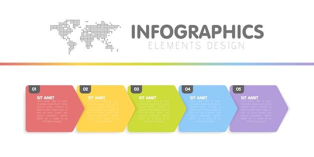 Zakelijke infographics sjabloon. tijdlijn met 5 pijlstappen, vijf nummeropties. Premium Vector