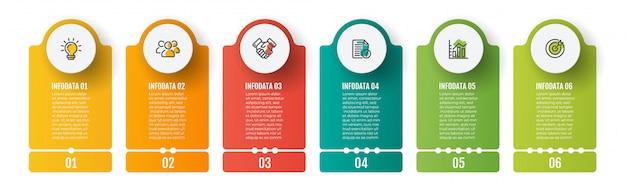 Zakelijke infographics sjabloon. tijdlijn met 6 stappen, grafiek- en marketingpictogrammen. Premium Vector