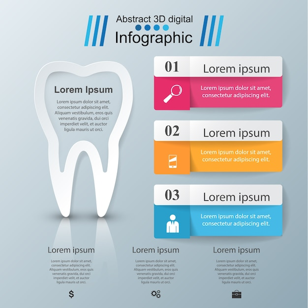 Zakelijke infographics. tand pictogram. Premium Vector