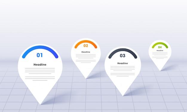Zakelijke infographics voor powerpoint met kaart locatie pins sjabloon Premium Vector