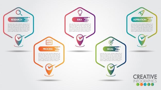 Zakelijke infographics zeshoek 5 stappen of opties. tijdlijn met kopie ruimte en bedrijf Premium Vector
