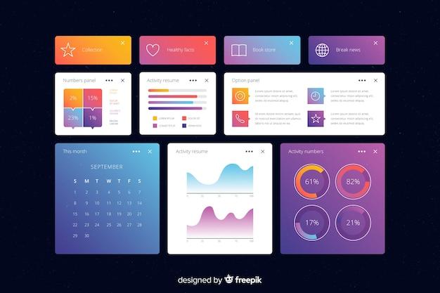 Zakelijke informatieve grafieken dashboard sjabloon Gratis Vector