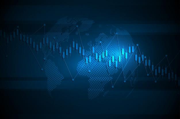 Zakelijke kaars stok grafiek grafiek van de beurs investeringen handel. trend van grafiek. illustratie Premium Vector