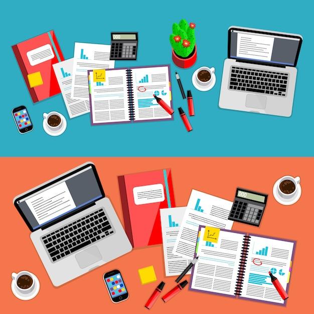 Zakelijke kantoor werkruimte set Premium Vector